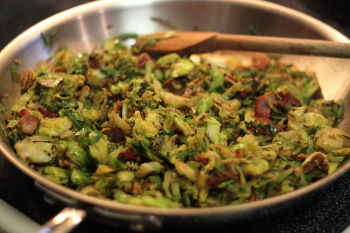 Brussel Sprouts with Bacon and Pecans