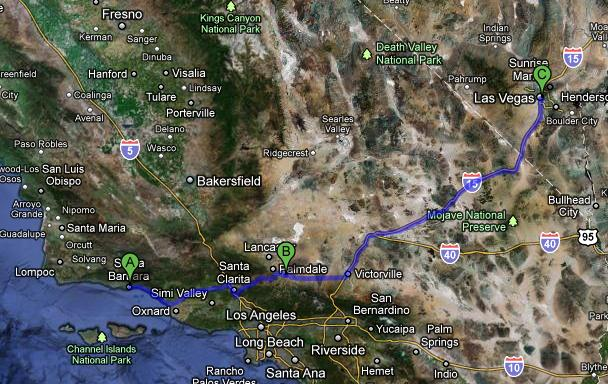 Santa Barbara to Vegas