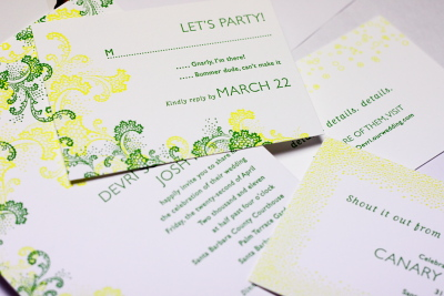Elum Seaspray Letterpress Wedding Invitation