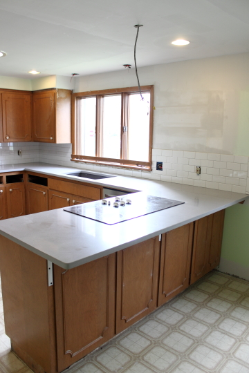 Countertop Overhang : We love the new bar overhang, and once we paint the cabinets, we?re ...